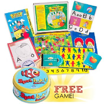 Sing, Spell, Read & Write Preschool Kit with FREE Spot It! Junior Animals Game Homeschool Edition